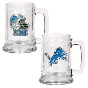 Detroit Lions 2pc 15oz Glass Tankard Set
