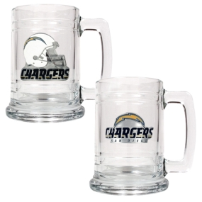 San Diego Chargers 2pc 15oz Glass Tankard Set