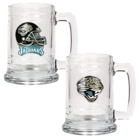 Jacksonville Jaguars 2pc 15oz Glass Tankard Set