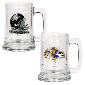 Baltimore Ravens 2pc 15oz Glass Tankard Set