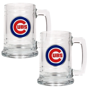 Chicago Cubs 2pc 15oz Glass Tankard Set- Primary Logo