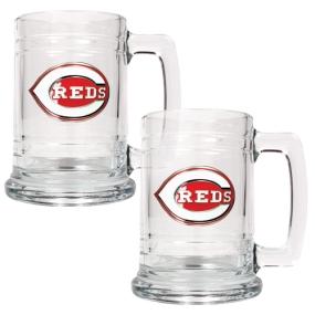 Cincinnati Reds 2pc 15oz Glass Tankard Set- Primary Logo