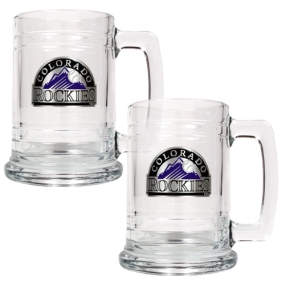 Colorado Rockies 2pc 15oz Glass Tankard Set- Primary Logo