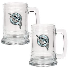 Florida Marlins 2pc 15oz Glass Tankard Set- Primary Logo