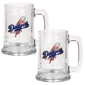 Los Angeles Dodgers 2pc 15oz Glass Tankard Set- Primary Logo
