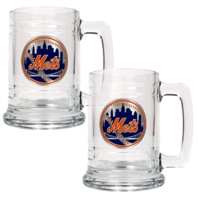 New York Mets 2pc 15oz Glass Tankard Set- Primary Logo