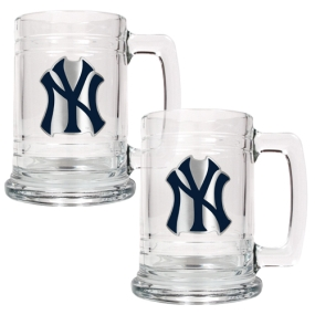 New York Yankees 2pc 15oz Glass Tankard Set- Primary Logo