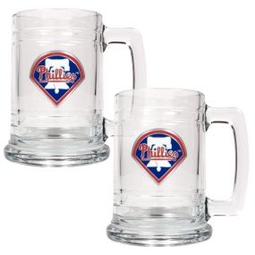 Philadelphia Phillies 2pc 15oz Glass Tankard Set- Primary Logo