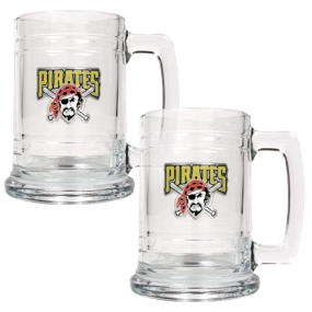Pittsburgh Pirates 2pc 15oz Glass Tankard Set- Primary Logo