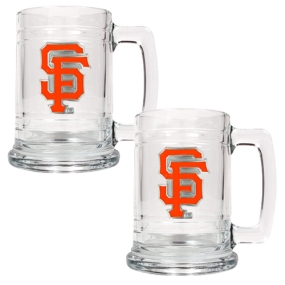 San Francisco Giants 2pc 15oz Glass Tankard Set- Primary Logo