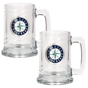 Seattle Mariners 2pc 15oz Glass Tankard Set- Primary Logo