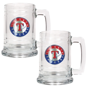 Texas Rangers 2pc 15oz Glass Tankard Set- Primary Logo