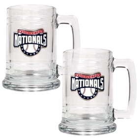 Washington Nationals 2pc 15oz Glass Tankard Set- Primary Logo