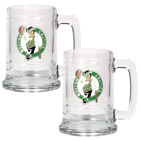 Boston Celtics 2pc 15oz Glass Tankard Set