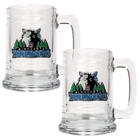 Minnesota Timberwolves 2pc 15oz Glass Tankard Set