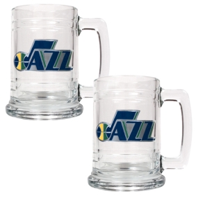 Utah Jazz 2pc 15oz Glass Tankard Set