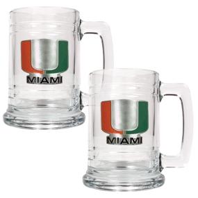 Miami Hurricanes 2pc 15oz Glass Tankard Set