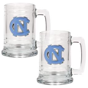 UNC Tar Heels 2pc 15oz Glass Tankard Set