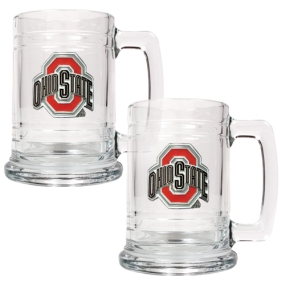 Ohio State Buckeyes 2pc 15oz Glass Tankard Set