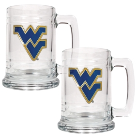 West Virginia Mountaineers 2pc 15oz Glass Tankard Set