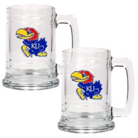 Kansas Jayhawks 2pc 15oz Glass Tankard Set