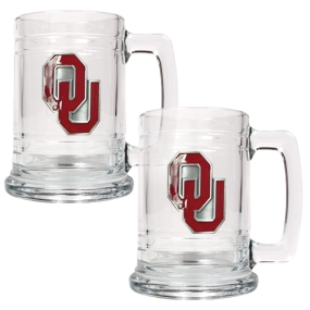 Oklahoma Sooners 2pc 15oz Glass Tankard Set