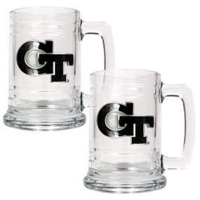Georgia Tech Yellow Jackets 2pc 15oz Glass Tankard Set