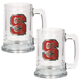 N.C. State Wolfpack 2pc 15oz Glass Tankard Set