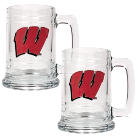 Wisconsin Badgers 2pc 15oz Glass Tankard Set