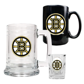 Boston Bruins 15oz Tankard, 15oz Ceramic Mug & 2oz Shot Glass Set