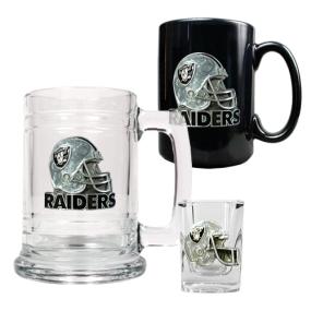 Oakland Raiders 15oz Tankard, 15oz Ceramic Mug & 2oz Shot Glass Set