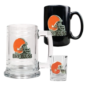Cleveland Browns 15oz Tankard, 15oz Ceramic Mug & 2oz Shot Glass Set