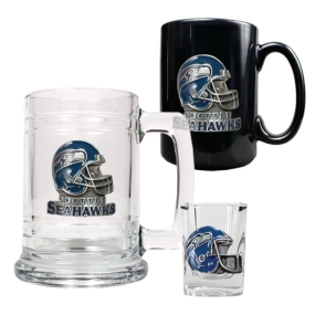 Seattle Seahawks 15oz Tankard, 15oz Ceramic Mug & 2oz Shot Glass Set