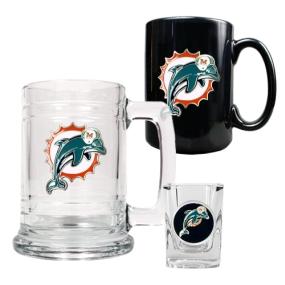 Miami Dolphins 15oz Tankard, 15oz Ceramic Mug & 2oz Shot Glass Set
