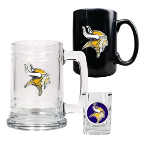 Minnesota Vikings 15oz Tankard, 15oz Ceramic Mug & 2oz Shot Glass Set
