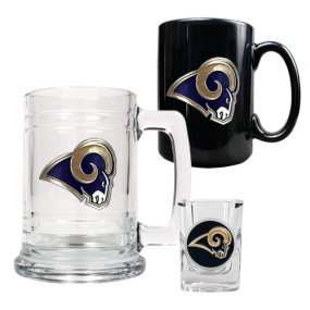 Saint Louis Rams 15oz Tankard, 15oz Ceramic Mug & 2oz Shot Glass Set