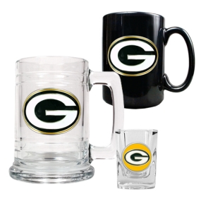 Green Bay Packers 15oz Tankard, 15oz Ceramic Mug & 2oz Shot Glass Set