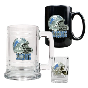 Detroit Lions 15oz Tankard, 15oz Ceramic Mug & 2oz Shot Glass Set