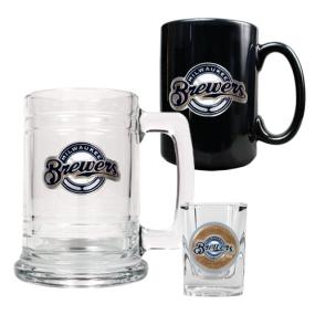 Milwaukee Brewers 15oz Tankard, 15oz Ceramic Mug & 2oz Shot Glass Set