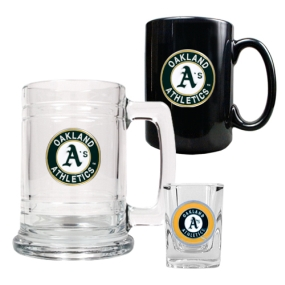 Oakland A's 15oz Tankard, 15oz Ceramic Mug & 2oz Shot Glass Set