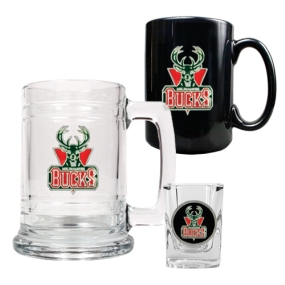 Milwaukee Bucks 15oz Tankard, 15oz Ceramic Mug & 2oz Shot Glass Set