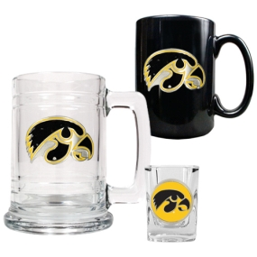 Iowa Hawkeyes 15oz Tankard, 15oz Ceramic Mug & 2oz Shot Glass Set