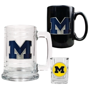 Michigan Wolverines 15oz Tankard, 15oz Ceramic Mug & 2oz Shot Glass Set
