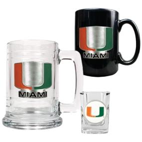 Miami Hurricanes 15oz Tankard, 15oz Ceramic Mug & 2oz Shot Glass Set