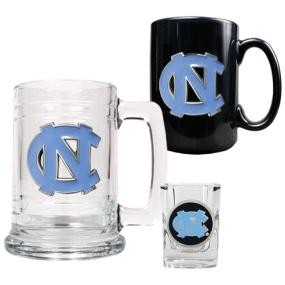 UNC Tar Heels 15oz Tankard, 15oz Ceramic Mug & 2oz Shot Glass Set