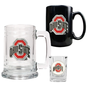 Ohio State Buckeyes 15oz Tankard, 15oz Ceramic Mug & 2oz Shot Glass Set