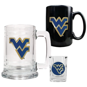 West Virginia Mountaineers 15oz Tankard, 15oz Ceramic Mug & 2oz Shot Glass Set