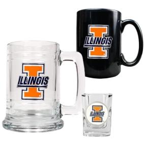 Illinois Fighting Illini 15oz Tankard, 15oz Ceramic Mug & 2oz Shot Glass Set