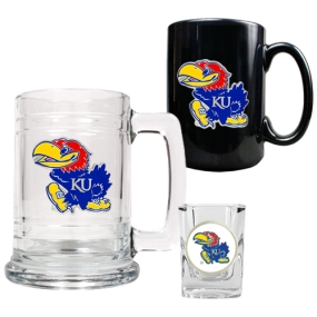 Kansas Jayhawks 15oz Tankard, 15oz Ceramic Mug & 2oz Shot Glass Set
