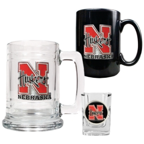 Nebraska Cornhuskers 15oz Tankard, 15oz Ceramic Mug & 2oz Shot Glass Set